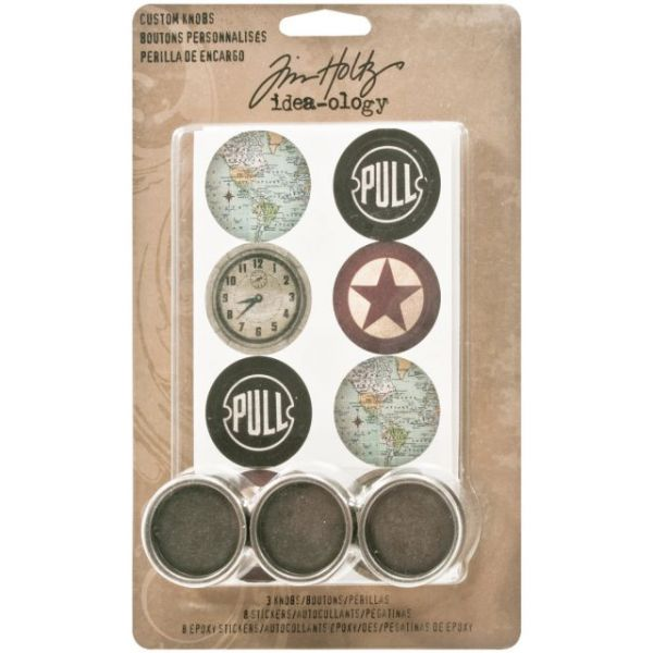 "Idea-Ology Custom Metal Knobs 1.25"" 3/Pkg"