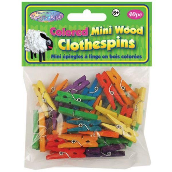Krafty Kids Colored Mini Wood Clothespins