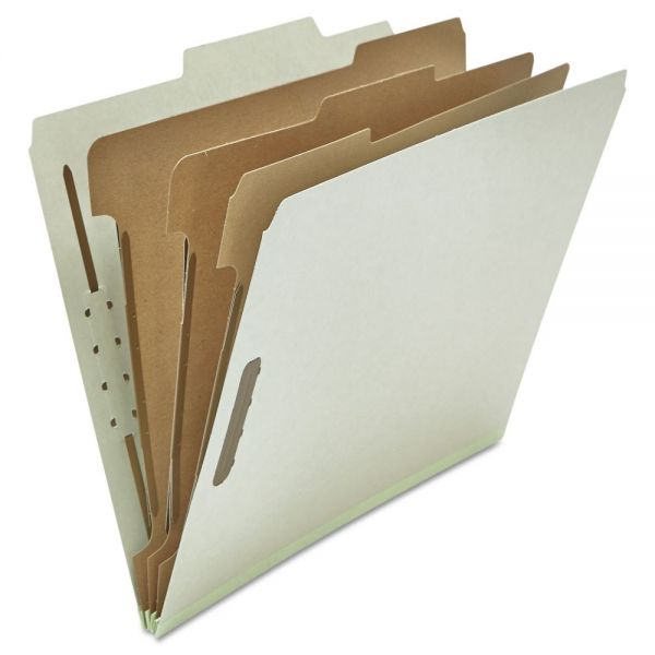Universal Pressboard Classification Folder, Letter, Eight-Section, Gray, 10/Box