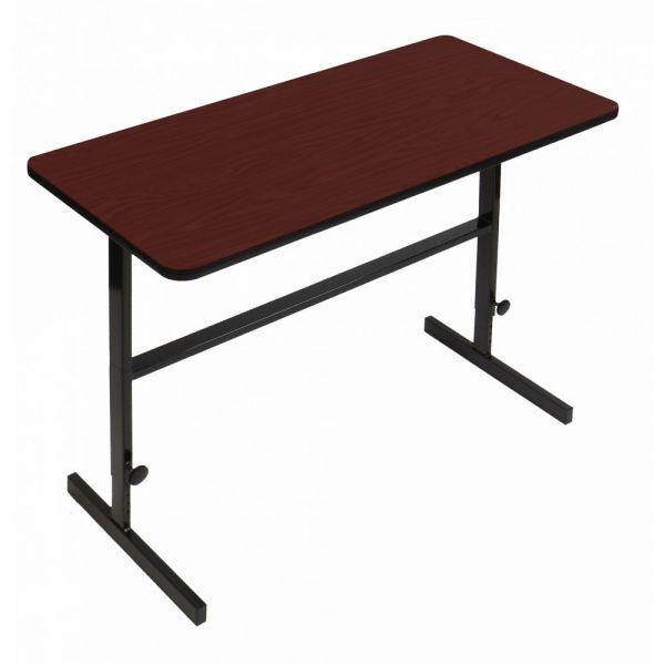 "Correll Adjustable Standing Height Workstation - 24"" x 48"" - Cherry"