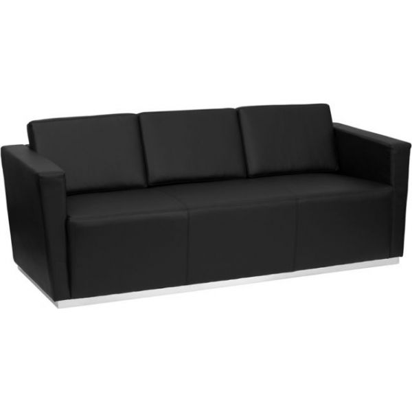 Flash Furniture HERCULES Trinity Series Contemporary Black Leather Sofa with Stainless Steel Base [ZB-TRINITY-8094-SOFA-BK-GG]