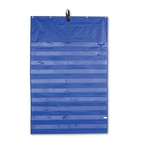 Carson-Dellosa Publishing Essential Pocket Chart, 10 Clear & 1 Storage Pocket, Grommets, Blue, 31 x 42
