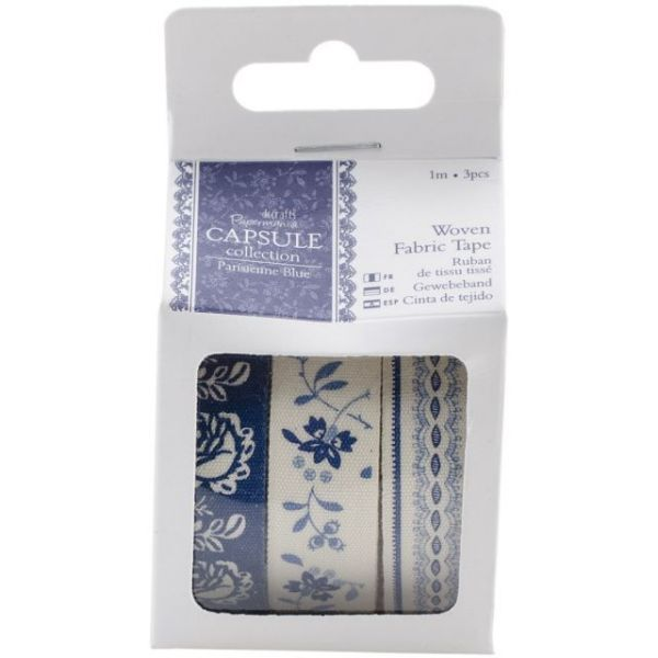 Papermania Parisienne Blue Fabric Tape 3/Pkg