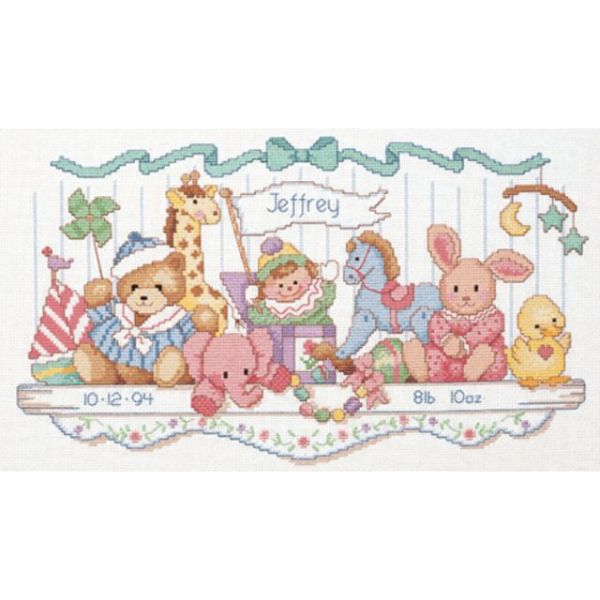Dimensions Toy Shelf Birth Record Counted Cross Stitch Kit