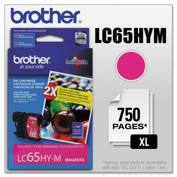 Brother LC65HYM Magenta High Yield Ink Cartridge