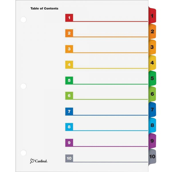 Cardinal QuickStep Index 10-Tab Numbered Dividers With Table Of Contents Page