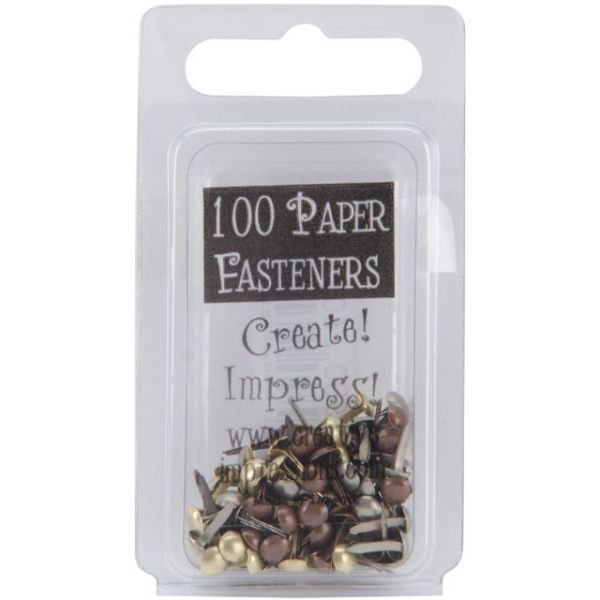 Mini Metal Paper Fasteners 3mm 100/Pkg