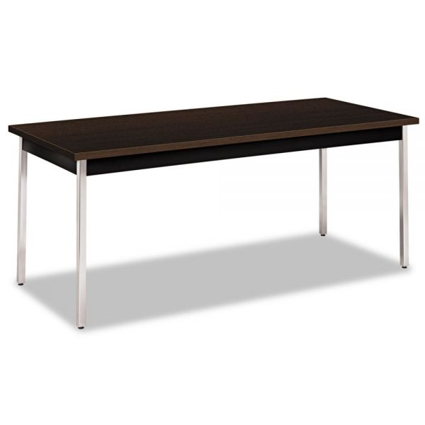 HON Utility Table, Rectangular, 72w x 30d x 29h, Mocha/Black
