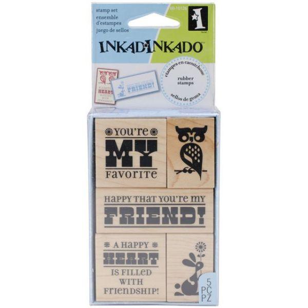 """Inkadinkado Mounted Rubber Stamp Set 5/Pkg 2.5""""X4"""""""