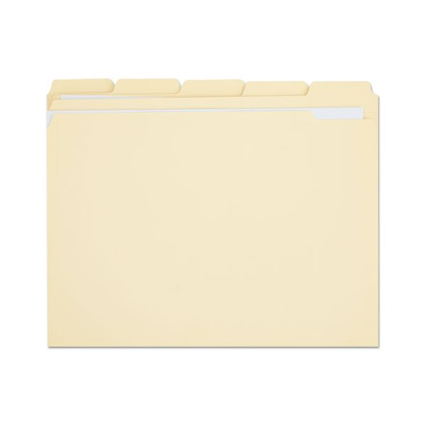 Universal File Folders, 1/5 Cut Assorted, Two-Ply Top Tab, Letter, Manila, 100/Box