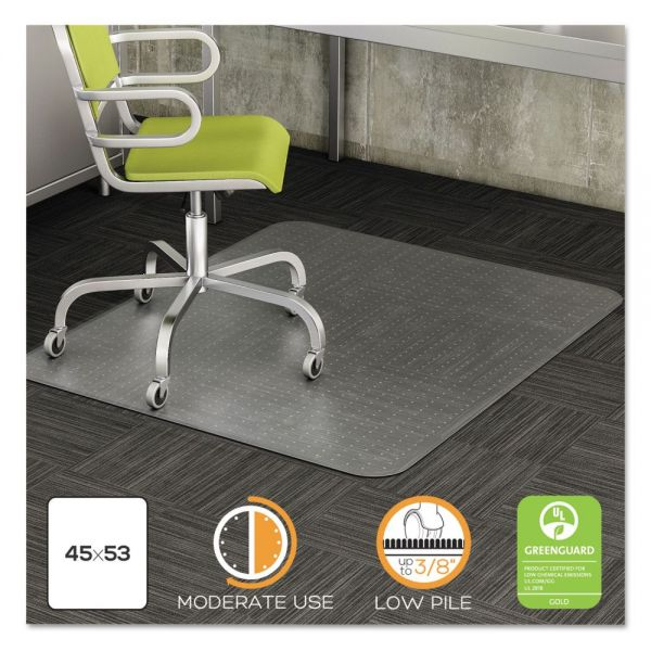 deflecto DuraMat Moderate Use Chair Mat for Low Pile Carpet, 45 x 53, Clear