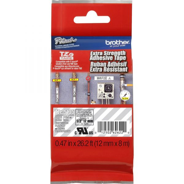 """Brother P-Touch TZ Extra-Strength Adhesive Laminated Labeling Tape, 1/2""""w, White on Clear"""