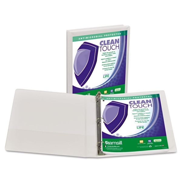 "Samsill Clean Touch Locking 3-Ring View Binder, Antimicrobial, 1"" Capacity, Round Ring, White"