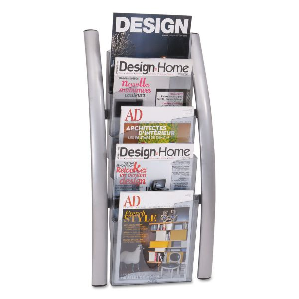 Alba Wall Literature Display, 13w x 3 1/2d x 28 1/2h, Silver Gray/Transluscent