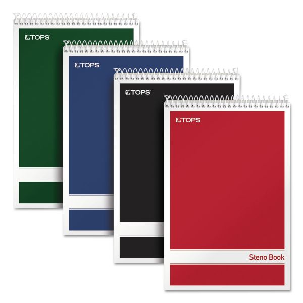 TOPS Steno Book w/Assorted Colored Covers, 6 x 9, White, 80 Sheets, 4 Pads/Pack