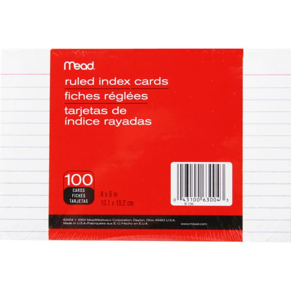 """Mead 4"""" x 6"""" Ruled Index Cards"""