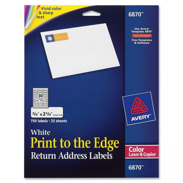 Avery 6870 Print To The Edge Return Address Labels