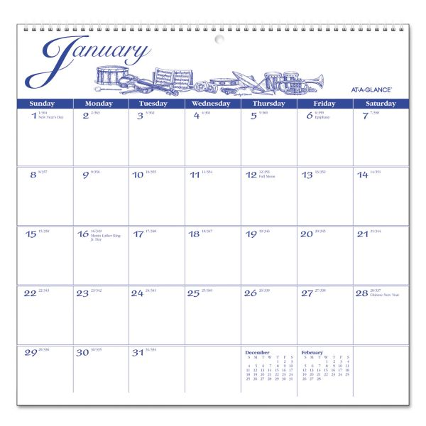 At-A-Glance Illustrator's Edition Monthly Wall Calendar