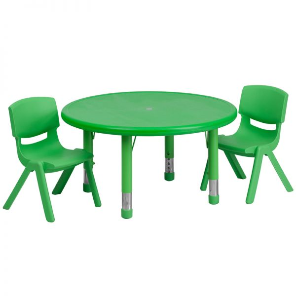 Flash Furniture 33'' Round Adjustable Green Plastic Activity Table Set with 2 School Stack Chairs