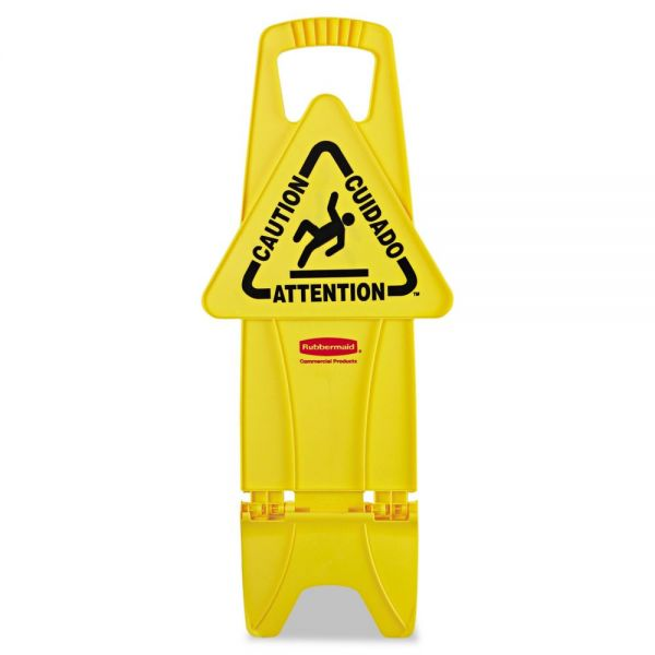 "Rubbermaid ""Caution/Cuidado/Attention"" Fold Flat Floor Sign"