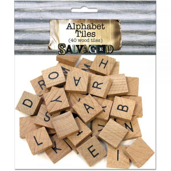 "Vintage Collection Wood Alphabet Tiles .75"" 40/Pkg"