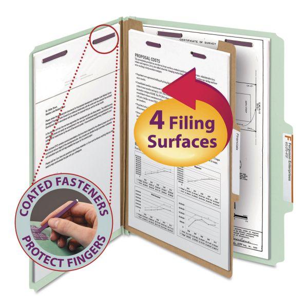 Smead Pressboard Classification Folders, Letter, Four-Section, Gray/Green, 10/Box