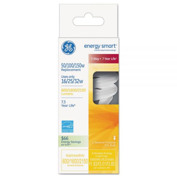 GE Energy Smart Compact Fluorescent Spiral Light Bulb, 16/25/32 W, Soft White