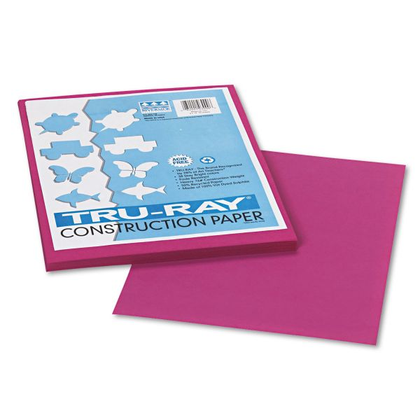 Pacon Tru-Ray Construction Paper, 76 lbs., 9 x 12, Magenta, 50 Sheets/Pack