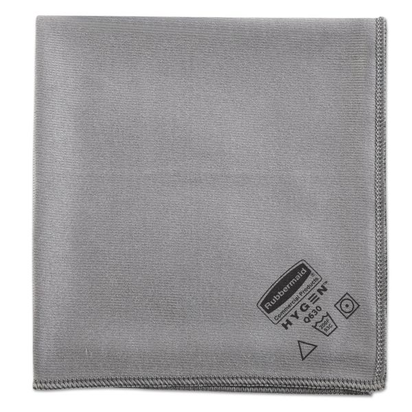 Rubbermaid Commercial Executive Glass Microfiber Cloths, Gray, 16 x 16, 12/Pack