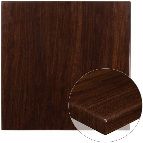 Flash Furniture 36'' Square High-Gloss Walnut Resin Table Top with 2'' Thick Drop-Lip
