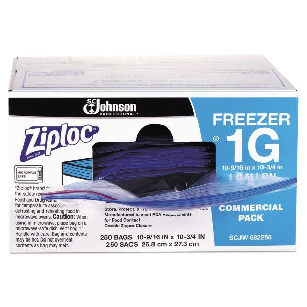 Ziploc Double-Zipper Freezer Bags, 1gal, 2.7mil, Clear w/Label Panel, 250/Carton