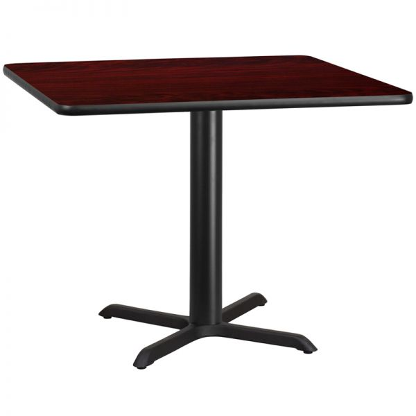 Flash Furniture 42'' Square Mahogany Laminate Table Top with 33'' x 33'' Table Height Base