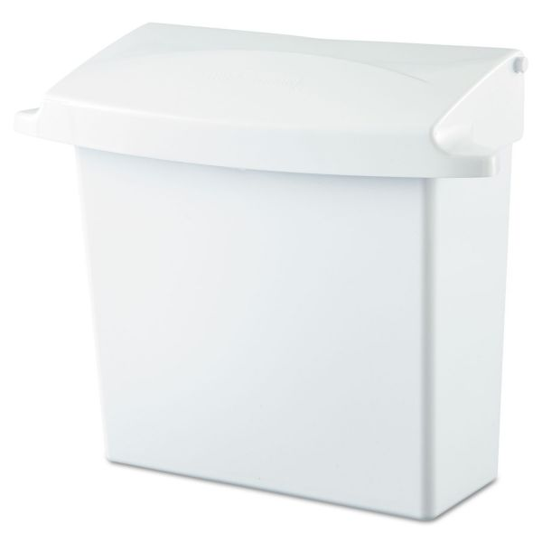Rubbermaid Commercial Sanitary Napkin Receptacle with Rigid Liner, Rectangular, Plastic, White
