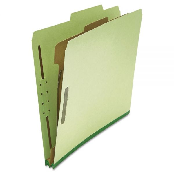 Universal Pressboard Classification Folder, Letter, Four-Section, Green, 10/Box