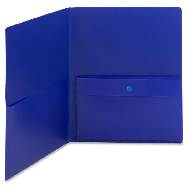 Smead Plastic Two Pocket Folders with Security Pocket
