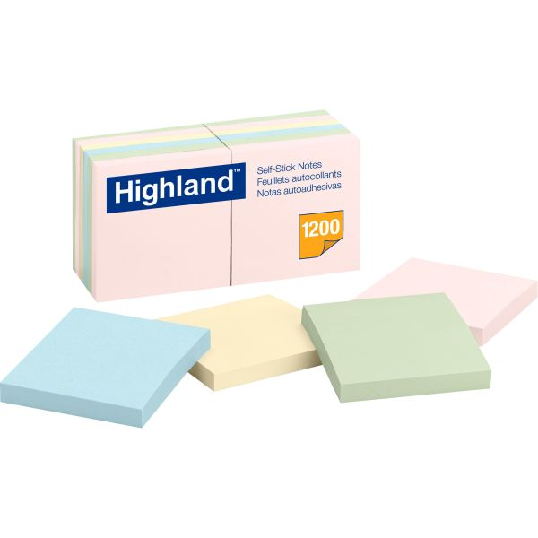 Highland Self-Stick Notes, 3 x 3, Assorted Pastel, 100-Sheet, 12/Pack