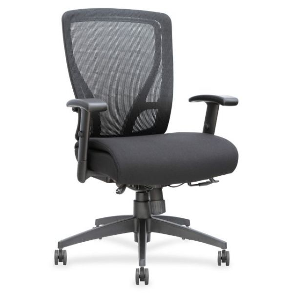 Lorell Fabric Seat Mesh Mid-Back Office Chair