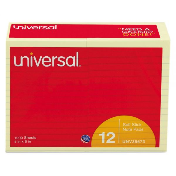 Universal Ruled/Lined Adhesive Note Pads