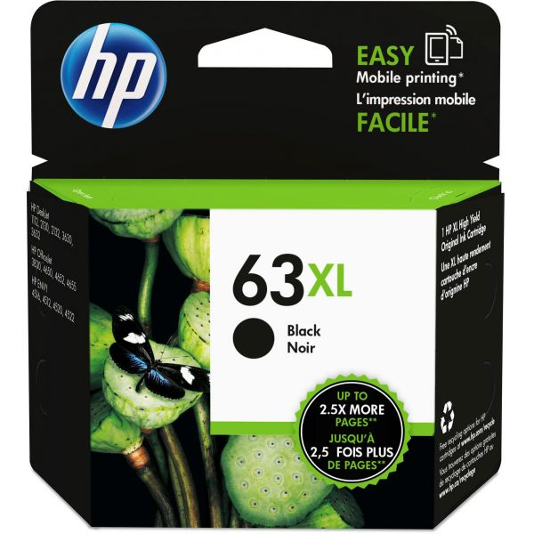 HP 63XL High-Yield Black Ink Cartridge (F6U64AN)