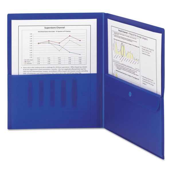 Smead Blue Plastic Two Pocket Folders with Security Pocket