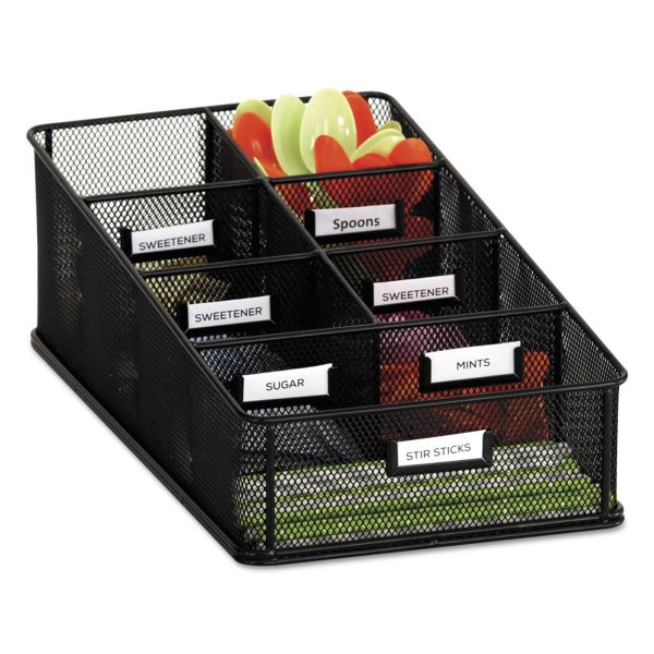 Safco Onyx Breakroom Organizers, 7 Compartments, 16 x8 1/2x5 1/4, Steel Mesh, Black
