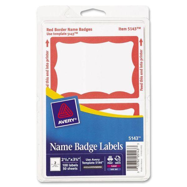 Avery Printable Self-Adhesive Name Badges, 2 1/3 x 3 3/8, Red Border, 100/Pack
