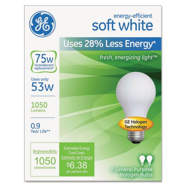 GE Halogen A-Line Bulb, A19, 75 Watts, 2/Pack
