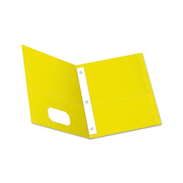 """Oxford Twin-Pocket Folders with 3 Fasteners, Letter, 1/2"""" Capacity, Yellow, 25/Box"""
