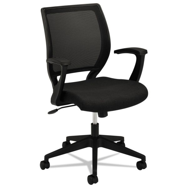 HON VL521 Series Mid-Back Work Chair, Mesh Back, Fabric Seat, Black