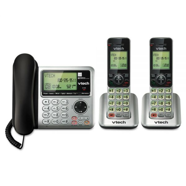 Vtech CS6649-2 Digital Answering System, Corded Base and 2 Cordless Handsets