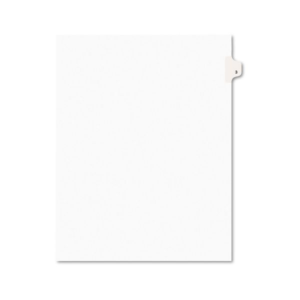 Avery Avery-Style Legal Exhibit Side Tab Divider, Title: 3, Letter, White, 25/Pack