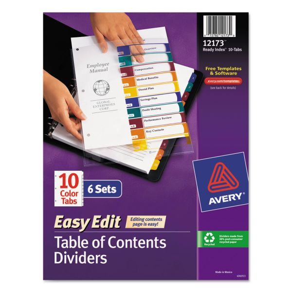 Avery Easy Edit Index 10-Tab Numbered Dividers With Table Of Contents Page
