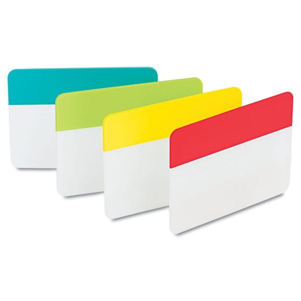 Post-it Tabs File Tabs, 2 x 1 1/2, Aqua/Lime/Red/Yellow, 24/Pack