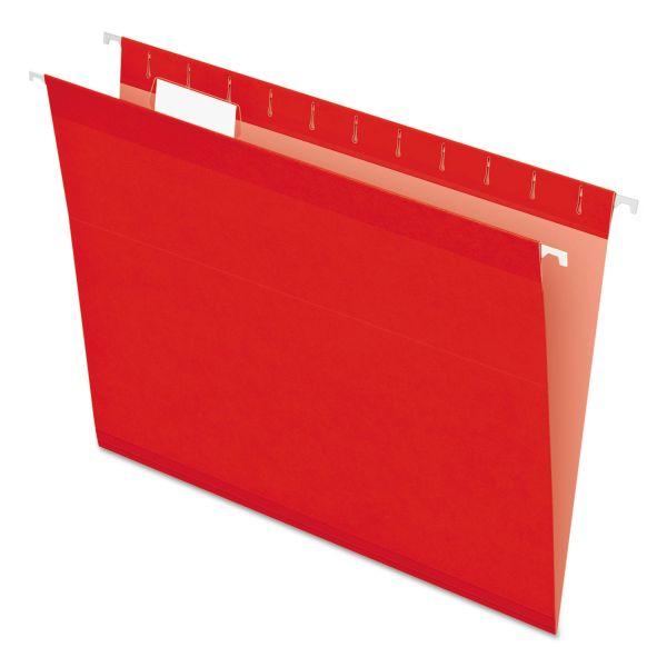 Pendaflex Reinforced Hanging Folders, 1/5 Tab, Letter, Red, 25/Box